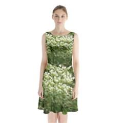 White summer flowers Sleeveless Chiffon Waist Tie Dress