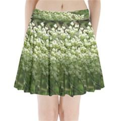 White Summer Flowers Pleated Mini Skirt
