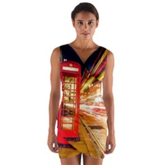 Telephone Box London Night Wrap Front Bodycon Dress