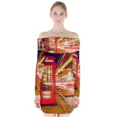 Telephone Box London Night Long Sleeve Off Shoulder Dress