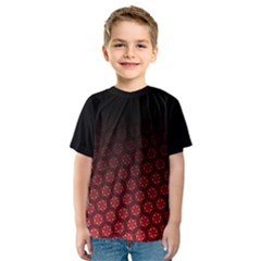Ombre Black And Red Pasion Floral Pattern Kids  Sport Mesh Tee
