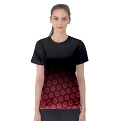 Ombre Black And Red Pasion Floral Pattern Women s Sport Mesh Tee