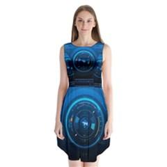 Technology Dashboard Sleeveless Chiffon Dress