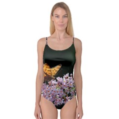 Butterfly Sitting On Flowers Camisole Leotard