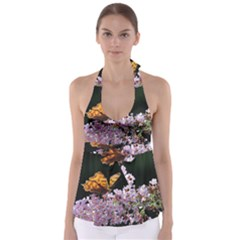 Butterfly sitting on flowers Babydoll Tankini Top