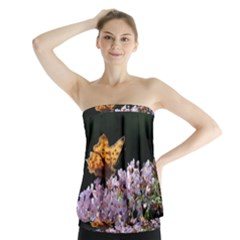 Butterfly sitting on flowers Strapless Top