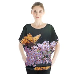 Butterfly sitting on flowers Blouse