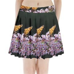 Butterfly Sitting On Flowers Pleated Mini Skirt