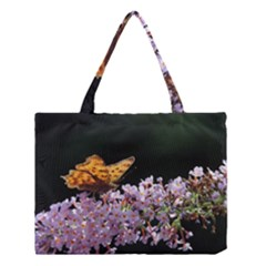 Butterfly sitting on flowers Medium Tote Bag