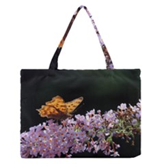 Butterfly sitting on flowers Medium Zipper Tote Bag