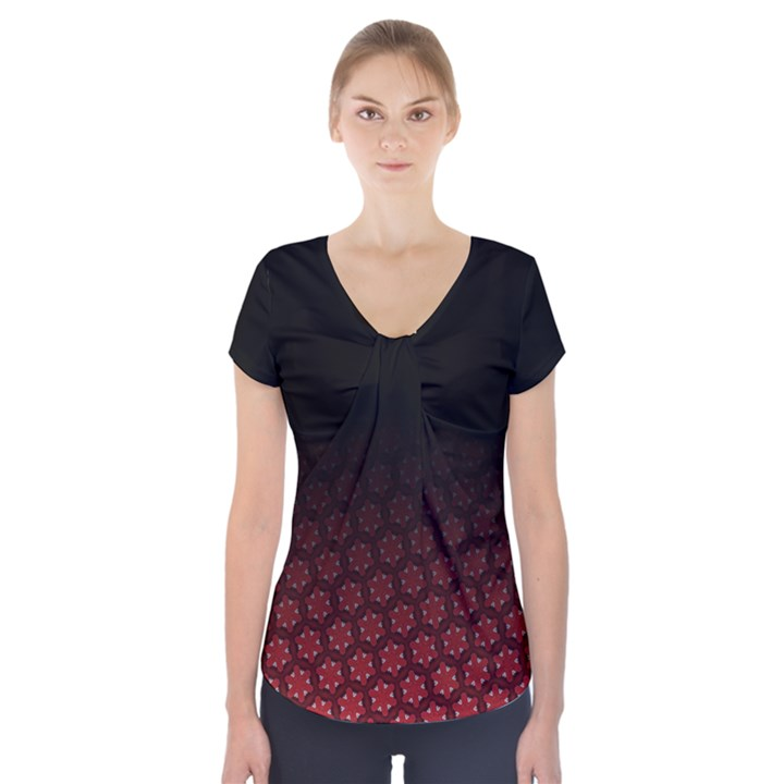 Ombre Black and Red Pasion Floral Pattern Short Sleeve Front Detail Top