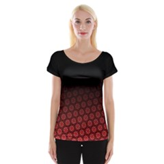 Ombre Black And Red Pasion Floral Pattern Women s Cap Sleeve Top