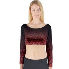 Ombre Black And Red Passion Floral Pattern Long Sleeve Crop Top (tight Fit)