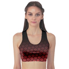 Ombre Black And Red Passion Floral Pattern Sports Bra