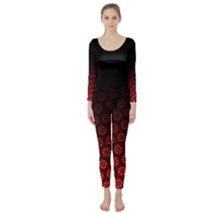 Ombre Black And Red Passion Floral Pattern Long Sleeve Catsuit