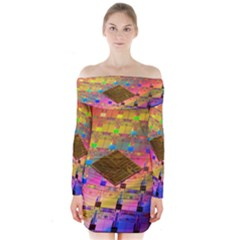 Technology Circuit Pentium Die Long Sleeve Off Shoulder Dress