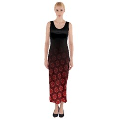Ombre Black And Red Passion Floral Pattern Fitted Maxi Dress