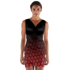 Ombre Black And Red Passion Floral Pattern Wrap Front Bodycon Dress