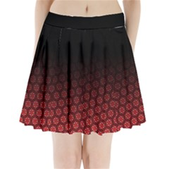 Ombre Black And Red Passion Floral Pattern Pleated Mini Skirt