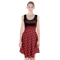 Ombre Black And Red Passion Floral Pattern Racerback Midi Dress