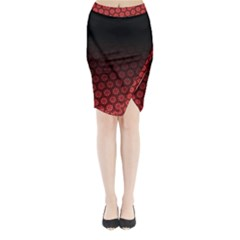 Ombre Black And Red Passion Floral Pattern Midi Wrap Pencil Skirt