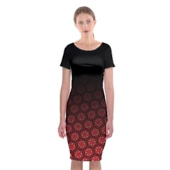 Ombre Black And Red Passion Floral Pattern Classic Short Sleeve Midi Dress
