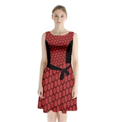Red Passion Floral Pattern Sleeveless Chiffon Waist Tie Dress