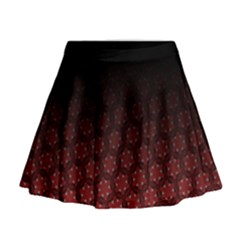 Ombre Black And Red Passion Floral Pattern Mini Flare Skirt