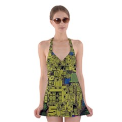 Technology Circuit Board Halter Swimsuit Dress