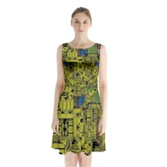 Technology Circuit Board Sleeveless Chiffon Waist Tie Dress