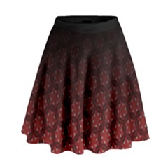Ombre Black And Red Passion Floral Pattern High Waist Skirt
