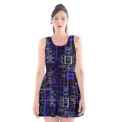 Technology Circuit Board Layout Scoop Neck Skater Dress