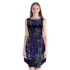 Technology Circuit Board Layout Sleeveless Chiffon Dress