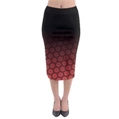 Ombre Black And Red Passion Floral Pattern Midi Pencil Skirt