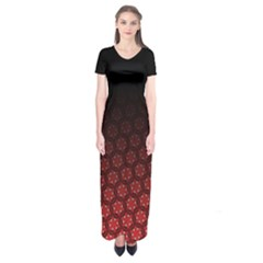 Ombre Black And Red Passion Floral Pattern Short Sleeve Maxi Dress
