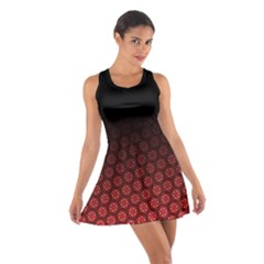 Ombre Black And Red Passion Floral Pattern Cotton Racerback Dress