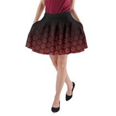 Ombre Black And Red Passion Floral Pattern A Line Pocket Skirt