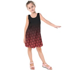 Ombre Black And Red Passion Floral Pattern Kids  Sleeveless Dress