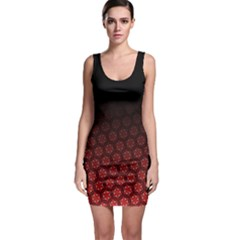 Ombre Black And Red Passion Floral Pattern Bodycon Dress