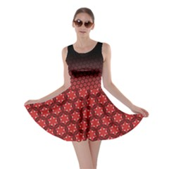 Ombre Black And Red Passion Floral Pattern Skater Dress