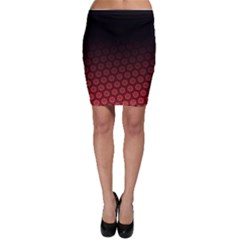 Ombre Black And Red Passion Floral Pattern Bodycon Skirt