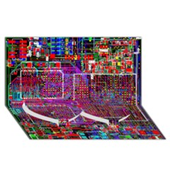Technology Circuit Board Layout Pattern Twin Heart Bottom 3D Greeting Card (8x4)
