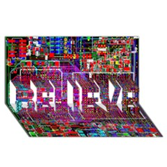 Technology Circuit Board Layout Pattern BELIEVE 3D Greeting Card (8x4)