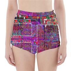 Technology Circuit Board Layout Pattern High-Waisted Bikini Bottoms