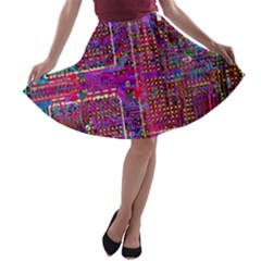 Technology Circuit Board Layout Pattern A-line Skater Skirt