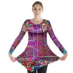 Technology Circuit Board Layout Pattern Long Sleeve Tunic