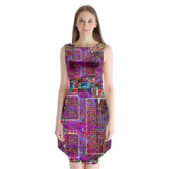 Technology Circuit Board Layout Pattern Sleeveless Chiffon Dress