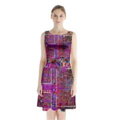 Technology Circuit Board Layout Pattern Sleeveless Chiffon Waist Tie Dress