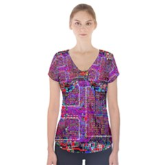 Technology Circuit Board Layout Pattern Short Sleeve Front Detail Top