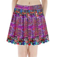 Technology Circuit Board Layout Pattern Pleated Mini Skirt
